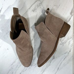 Dolce Vita Taupe Suede Slip On Bootie Ankle Boots